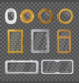 porthole realistic transparent icon set vector image