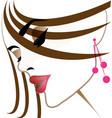 pretty girl face makeup icon vector image