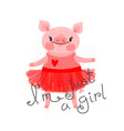 print card t-shirt design with cute piglet sweet vector image vector image