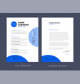 professional cv resume template blue design vector image vector image