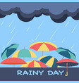 rainy season background with clouds raindrops vector image vector image