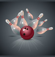 realistic bowling strike concept on dark gray vector image