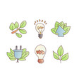 save energy cartoon icons green leaves vector image