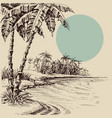 sea view from palm beach hand drawing vector image vector image