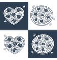 seamless monochrome pizza pattern vector image
