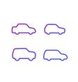sedan hatchback suv and minivan cars line icons vector image vector image