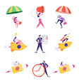 set businesspeople jumping with parachute vector image vector image