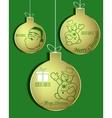 set of Golden Christmas balls vector image vector image