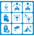 set of travel and camping equipment icons vector image