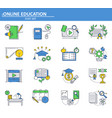 set online education icons in thin line vector image vector image