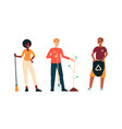 set volunteers people saving environment vector image