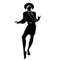 silhouette of woman dancing new wave music vector image vector image
