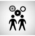 silhouette two man reamwork coopration work design vector image