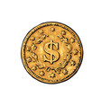 sketch old gold coin with dollar sign hand vector image