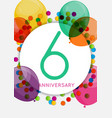template 6 years anniversary congratulations vector image vector image