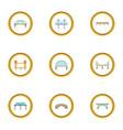 types of bridges icons set cartoon style vector image vector image
