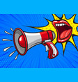 vivid banner of red lips with megaphone vector image