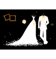 wedding groom suit and brides dress vector image vector image