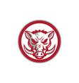 Wild Boar Razorback Head Angry Circle Retro vector image vector image