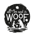 with young woman dog moon and lettering quote vector image vector image