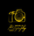world photography day design with line art of vector image vector image