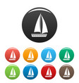 yacht travel icons set color vector image vector image