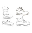 sketch of mens and womens shoes vector image