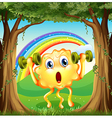 A monster exercising at the forest with a rainbow vector image vector image
