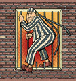 a prisoner escapes from prison jailbreak vector image