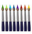Aligned paint brushes with colors on the bristles vector image vector image