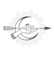 arrow in female hand in front crescent moon vector image vector image