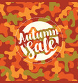 autumn sale banner with patch on camo background vector image vector image