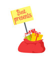 best presents in red sack on white background vector image vector image