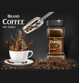 black instant coffee cup with splash and beans ads vector image vector image