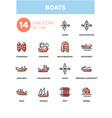 boats - modern line design icons set vector image vector image
