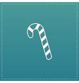 Candy cane flat icon vector image vector image