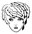 charming fashionable girl with floral hair vector image vector image