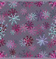 christmas pattern of pink snowflakes winter vector image vector image