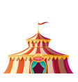 circus tent with red and white stripes on funfair vector image vector image