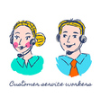Customer service workers sketch drawing vector image