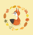 cute fox in glasses with leaves decoration circle vector image