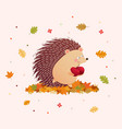 cute hedgehog holding two apples vector image vector image
