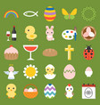easter and spring icon and elements vector image vector image