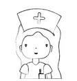 figure professional nurse with hat in the head vector image vector image