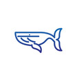 giant whale humpback marine life thick line blue vector image vector image