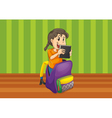 girl with book in a bag vector image