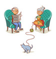 grandfather grandmother and cat vector image