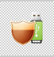 green usb flash drive and protection gold shield vector image