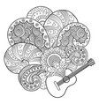 guitar coloring book vector image vector image