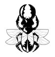hand drawn beetle with wings vector image